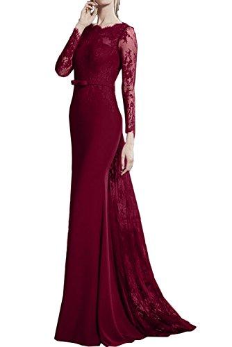 Lang Mutterkleider Abendmode Romantisch Meerjungfrau Damen Weinrot Ballkleider Band Spitze Ivydressing Abendkleider w4axUYqw