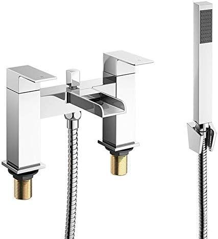 滝バスタブ蛇口クロームブラスタブフィラーセットデッキマウント多機能ダブルハンドルバスルームシャワーミキサータップハンドヘルドシャワー、冷水、温水