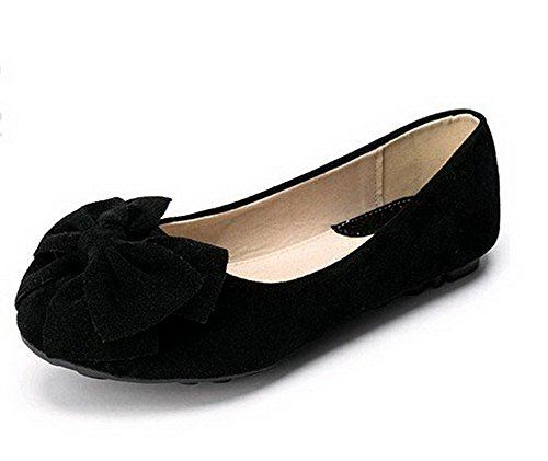 AalarDom Womens Pull-On Round-Toe No-Heel Solid Frosted Flats-Shoes Black-frosted HZeh21q