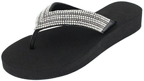Capelli New York Ladies Fashion Flip Flops with Rhinestone Trim Black Combo 11