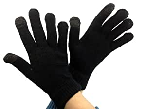 3 Pair Pack iTouch Touchscreen Glove for Men - no embroidery All Black - Size Large