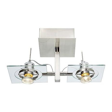 FUGA - techo/lámpara de pared, cromo-plateado, vidrio claro ...