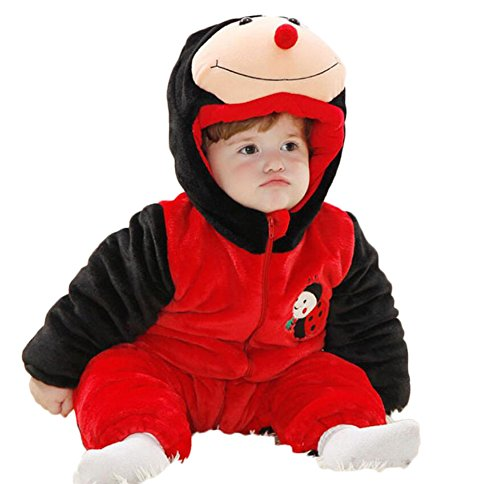 AK Beauty Baby Warm Cute Thicken Hooded Costumes Winter Jumpsuits (110(Height 86cm-92cm), (Toddler Ladybird Costume)
