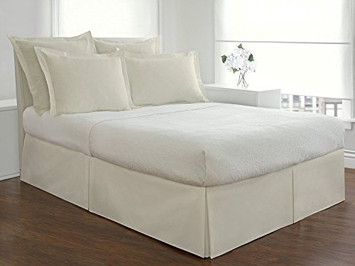 Solid Pattern Italian Luxury Hotel Collection Bed Skirt with 11-inch Drop Length - 100% Egyptian Cotton 400 Thread Count Quality Pleated Dust Ruffle Bed Skirt ( King, Ivory )