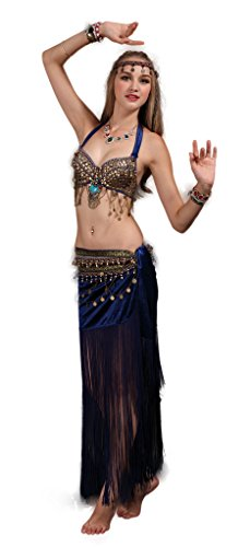 GUILTY BEAUTY Tribal Belly Dance Costume,Halter Bra Hip Scarf 2pcs,Blue,GBZY0031-L-BL