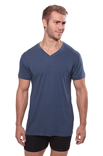 Texere Men's V-Neck Luxury Undershirt (Meio, Air Force Blue, S) Short Sleeve Top