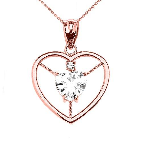 Collier Femme Pendentif Élégant 14 Ct Or Rose Diamant et Avril Pierre De Naissance Blanc Oxyde De Zirconium Cœur Solitaire (Livré avec une 45cm Chaîne)