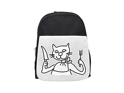 Un gato sostiene un cuchillo y un tenedor. Mochila infantil estampada, bonitas mochilas,