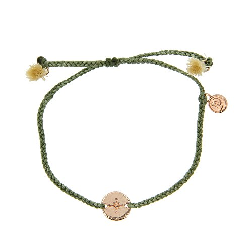 Stretch Beaded Bracelet Plated Silver (Pura Vida Rose Gold Compass Braided Sage Green Bracelet - Plated Charms, Adjustable Band - 100% Waterproof)