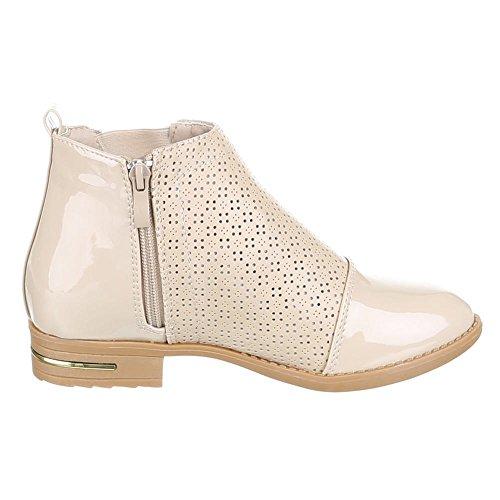 Damen Schuhe, G-11, STIEFELETTEN, LEICHTE LÜFTIGE , Synthetik in hochwertiger Lederoptik und Lacklederoptik, Beige, Gr 37