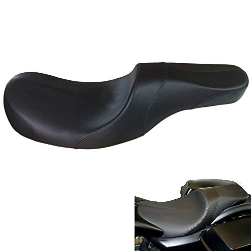 (VBROS 2-UP Driver Passenger Seat Low Profile For 6.6 Gal Stretched Gas Tank Harley Touring Bagger Road King Street Glide FLHT FLHR 2008 2009 2010 2011 2012 2013 2014 2015)