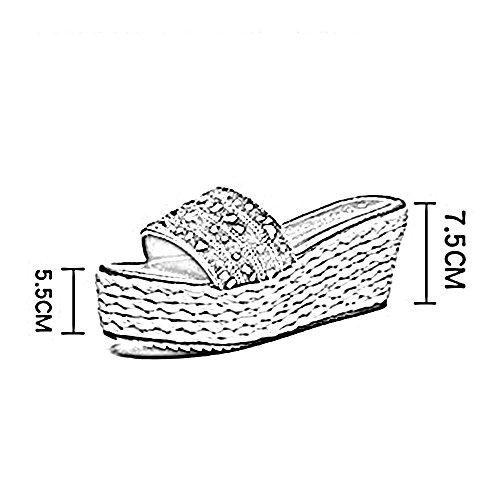 de FEIFEI para Sandalias con de plataforma deporte de con de Zapatillas con abierta mujer verano de de tacón imitación deporte Bohemia grueso Sandalias punta bajo deporte La de fondo Zapatillas Plata diamantes t4wqdxrw
