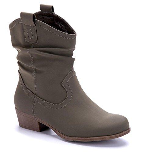 Schuhtempel24 Damen Schuhe Westernstiefel Stiefel Stiefeletten Boots Blockabsatz 4 cm Grün