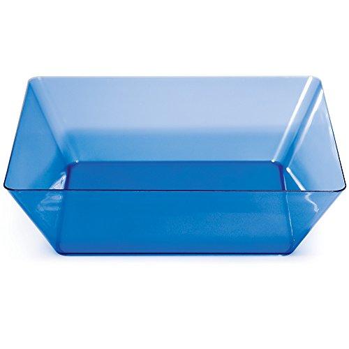 Blue Square Bowl (Creative Converting 6-Count Square Plastic Serving Bowls, Translucent Blue)