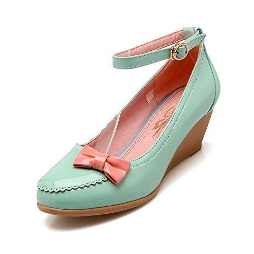1to9 Damesgespgesponnen Gouden Bowknot Casual Polyurethane Pumps-schoenen Blauw