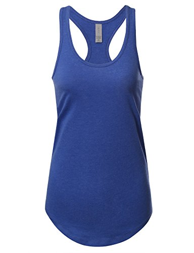 Women's Basic Solid Jersey Racer Back Tank Top With Scallop Bottom M Heather Royalblue -