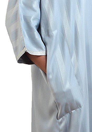 Moroccan Men Caftan Handmade Gandoura Cotton Blend Delicate Embroidery Grey by Moroccan Men Clothing (Image #5)