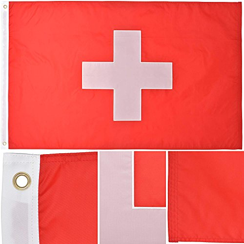 Cheap Green Grove Products Switzerland Flag 3′ x 5′ Ft 210D Nylon Premium Outdoor Swiss Flag(Civil Ensign Rectangular Variant)