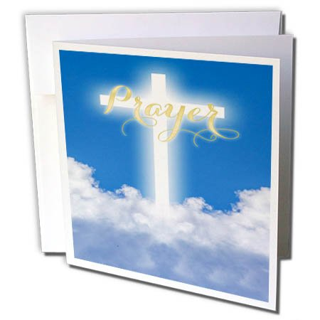3dRose TDSwhite - Miscellaneous Photography - Prayer Glowing Cross Heaven Clouds - 6 Greeting Cards with Envelopes (gc_285324_1)