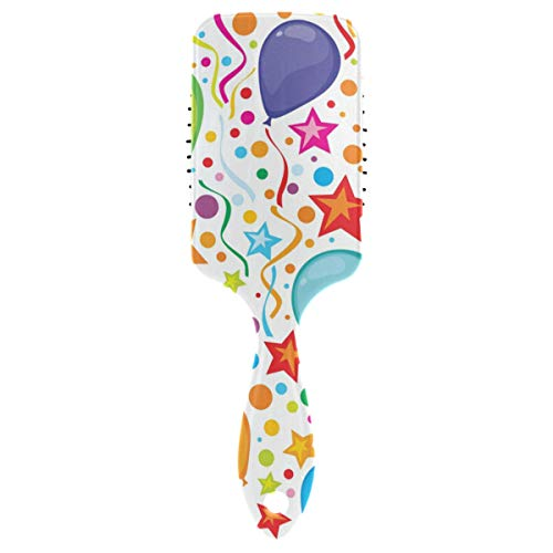 Hair Brush paddle comb Birthday Background With Party Streamers And Confe for Thick Hair & Anti Static ()