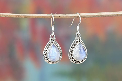 Genuine Moonstone Sterling Silver Earring-Blue Flash Earring-Healing Psychic Crystal-Bridesmaid Earring-Chandelier Moonstone Earring, Pear Shape Earrings