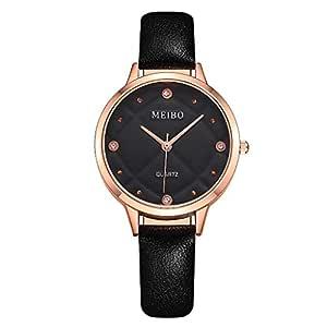 Ausexy Women's Fashion Diamond Pattern Watch Diamond Quartz Analog Watch Leather Band and Thin Dial