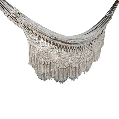 Handmade Macrame Mayan Hammock, Matrimonal Hammock, Double Hammock, Brazilian Hammock – Made with 100 Natural Cotton – The World s Best Hammock King, Off-White