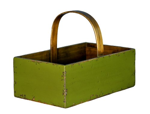 Antique Revival Square Wooden Fruit Bucket, Green Finish