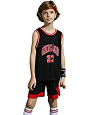 ZHAW Bulls Jordan Basketbalshirt, broek voor kinderen, jongens, 23# jersey, ademend mesh, mouwloos, trainingspak, 3XS-2XL, zwart-L