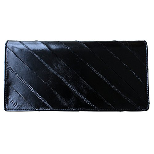 Rainbow Women's Genuine Eel Skin Leather Diagonal Slim Wallet Credit Cards Coin Purse (Black)