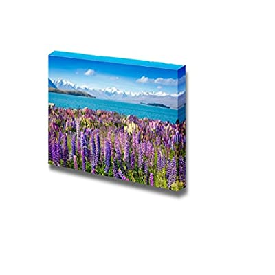 Canvas Prints Wall Art - Mountain Lake with Blooming Flowers on Foreground - 16