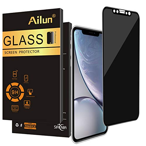 Ailun Privacy Screen Protector Compatible iPhone XR 6.1Inch 2018 Release 1Pack Anti Spy Tempered Glass Anti Scratch Full Notch Coverage