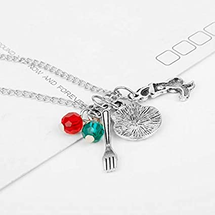 FITIONS Little Mermaid Themed Charm Silver Color Pendant Necklace Princess Sea Ocean