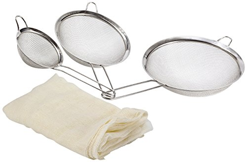 Fine Mesh Stainless Steel Strainer Set: 3 Food Strainers with Handles for Kitchen, Tea, Rice, Juice, and Other Uses plus Cheesecloth Bag