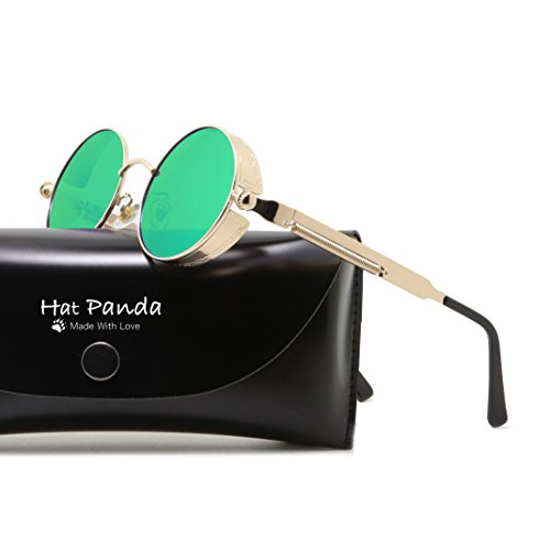 Round Polarized Steampunk Sunglasses Gothic John Lennon Sunglasses For Men And Women (Gold & Mirrored Green, - Hats Sunglasses And