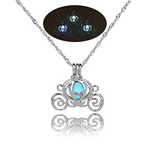 FULLIN Luminous Necklace Halloween Pumpkin Car Pendant Necklace Can Open Cage Necklace Glow in the Dark,White K + Sky - Dark Sky Chain