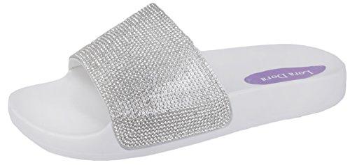 Lora Dora Womens Diamante Sandals White/Silver Diamante