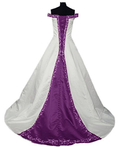 Grape Wedding Invitations - APXPF Women's Satin Embroidery Wedding Dress with Cathedral Train White and Grape US22