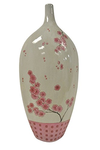 KINDWER 23-Inch Cherry Blossom Stoneware Vase, Large (Cherry Blossom Large Vase)