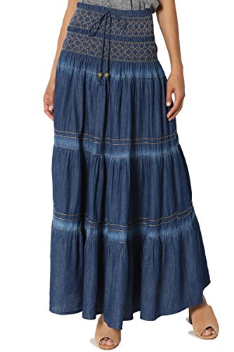Tiered Peasant Skirt (TheMogan Women's Embroidered Tiered A-Line High Waist Maxi Skirt Medium ONE SIZE)
