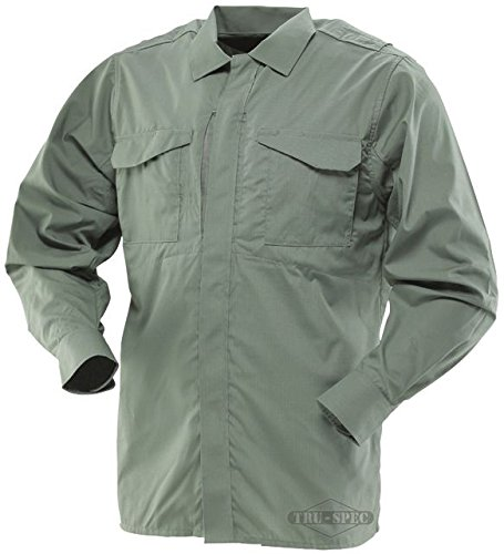 (TRU-SPEC Uniform Shirt, 24-7 Odg L/W P/C R/S l/S, OD Green, Large/Large)