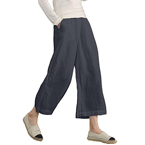 Women's Wide Leg Pants,Elastic Waist Causal Loose Cropped Trousers by-NEWONESUN