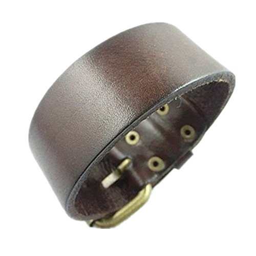 Original Tribe Antique Men's Leather Cuff Bracelet, Leather Wristband Jewelry S056 (Brown)