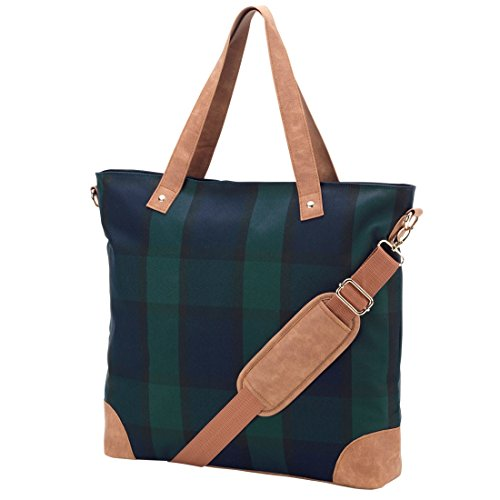 (Plaid Shoulder Tote Bag Faux Leather Trim Can be Personalized (Plaid -)