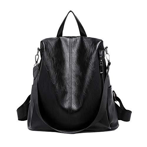 Price comparison product image MaxFox Women Anti-theft Backpack, Ladies Designer Wild Waterproof Leather Dual-use Small Bag Satchel Rucksack (Black)