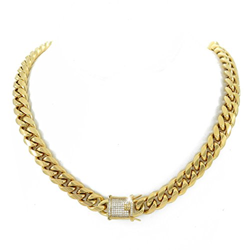 Chain - 1ct Lab Diamond Clasp - 18k Gold Plated Stainless Steel - Iced Out Bling (Gold Diamond Clasp)