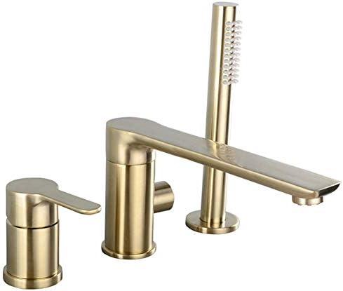 バスタブ蛇口、銅のバスタブシンク蛇口スプリットタイプ蛇口セットホームホテル温水と冷水のシャワーハンドシャワー滑らかで、ゴールドブラッシュ,3hole