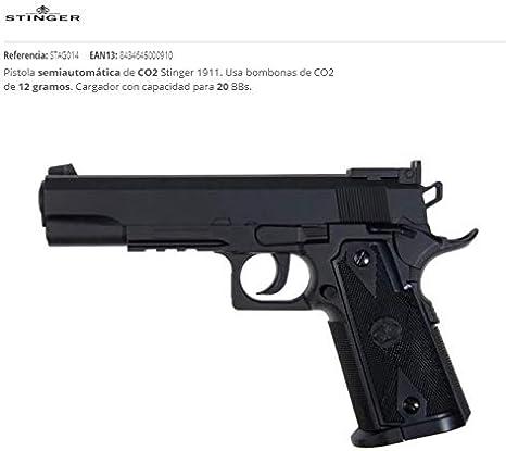 Stinger Pistola de Aire CO2 1911,Cal 4.5 mm,Potencia 3J