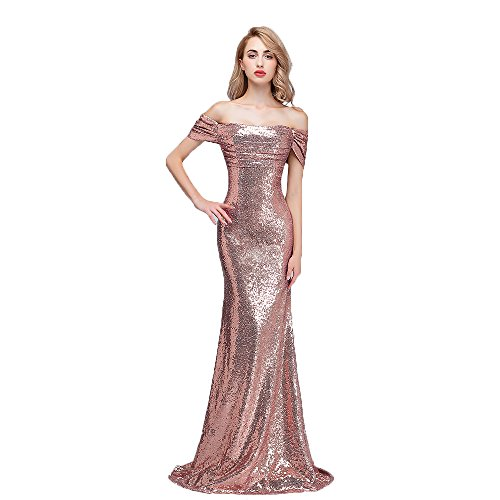 (Honey Qiao Sequins Off The Shoulder Bridesmaid Dresses Long Pleats Prom Party Gowns Rose Gold 14)