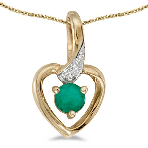 10k Yellow Gold Round Emerald And Diamond Heart Pendant with 18